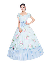 cheap -Princess Maria Antonietta Floral Style Rococo Victorian Renaissance Dress Party Costume Masquerade Women's Lace Costume Blue Vintage Cosplay Christmas Halloween Party / Evening Short Sleeve Floor