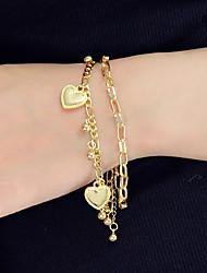 cheap -Women's Charm Bracelet Layered Heart Unique Design Trendy Fashion Chrome Bracelet Jewelry Gold / Silver For Party Work Festival