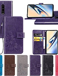 cheap -Case For OnePlus OnePlus 6 / One Plus 6T / One Plus 7 Wallet / with Stand / Flip Full Body Cases Solid Colored / Butterfly / Flower Hard PU Leather
