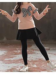 abordables -Enfants Fille Basique Chinoiserie Couleur Pleine Damier Noeud Manches Longues Normal Normal Ensemble de Vêtements Rouge