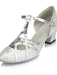 cheap -Women's Modern Shoes Ballroom Shoes Heel Splicing Thick Heel Silver T-Strap