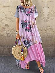 cheap -Women's Maxi Plus Size Blushing Pink Green Dress Summer Vacation Sheath Floral Print M L