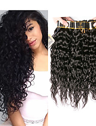 Недорогие -4 Связки Перуанские волосы Волнистые Необработанные натуральные волосы 400 g Человека ткет Волосы Пучок волос Накладки из натуральных волос 8-28 дюймовый Естественный цвет Ткет человеческих волос