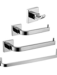 cheap -Bathroom Accessory Set New Design / Creative Contemporary / Modern Metal 4pcs - Bathroom 1-Towel Bar / towel ring Wall Mounted