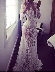 cheap -Women's Lace Party Maxi Dress Lace Deep V Spring Cotton White S M L XL / Super Sexy