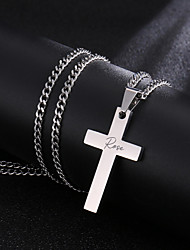 cheap -Personalized Customized Necklace Titanium Steel Name Cross Gift Daily Holiday irregular 1pcs Silver