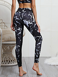 cheap -Women's Yoga Pants Bra Top Floral Print Black Gym Workout Bottoms Sport Activewear Soft Micro-elastic Slim