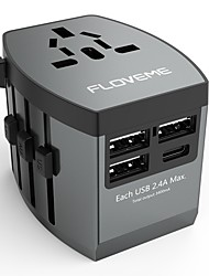 cheap -Floveme Quick Fast Charge 4 USB Ports All in One Travel Adapter Worldwide Adapter Support Phone/Table and Other Devices(Grey)