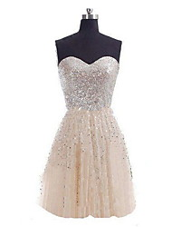 cheap -A-Line Strapless Short / Mini Sequined Bridesmaid Dress with Sequin