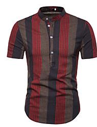 cheap -Men's Daily Cotton Shirt - Striped Standing Collar Black / Short Sleeve