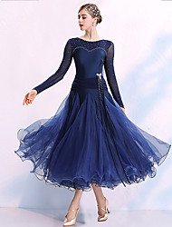 cheap -Ballroom Dance Dresses Women's Training / Performance Spandex / Organza / Polyster Split Joint / Crystals / Rhinestones Long Sleeve Dress