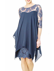 cheap -Women's Plus Size Wine Navy Blue Dress Spring Going out Sheath Chiffon Solid Colored Lace S M Slim