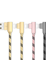 cheap -20cm(0.65Ft) Lightning to USB Cable Braided Quick Charge Stainless steel / Zinc Alloy USB Cable for iPhone iPad
