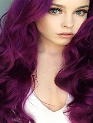 cheap -Human Hair Lace Wig Body Wave Middle Part Wig Long Dark Purple Synthetic Hair 26 inch Women's Women Purple