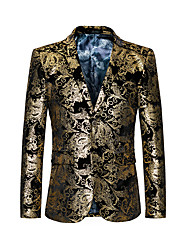 cheap -Men's Notch lapel collar Jacket Regular Geometric Party Basic Gold XL XXL 3XL 4XL