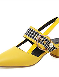 cheap -Women's Sandals Square Toe Shoes Chunky Heel Square Toe Imitation Pearl / Buckle PU(Polyurethane) Spring &  Fall White / Black / Yellow / Wedding / Color Block