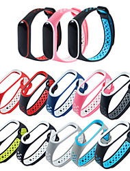 cheap -Double Color Wrist Strap For Xiaomi Mi Band 3 /4  Watch Smart Bracelet Band Waterproof Cover Silicone Watch strap