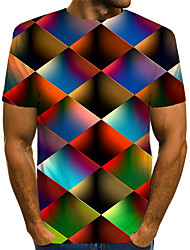 cheap -Men's Daily Wear Club Street chic / Exaggerated EU / US Size T-shirt - Color Block / 3D / Graphic Print Round Neck Rainbow / Short Sleeve
