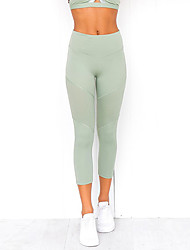 cheap -Women's Yoga Pants Bra Top Solid Color Green Gym Workout Bottoms Sport Activewear Soft Micro-elastic Slim