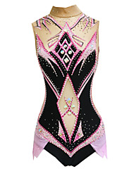 cheap -Rhythmic Gymnastics Leotards Artistic Gymnastics Leotards Women's Girls' Leotard Blushing Pink High Elasticity Handmade Print Jeweled Sleeveless Competition Ice Skating Rhythmic Gymnastics Figure