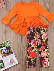 cheap -Baby Girls' Active / Basic Floral Long Sleeve Short Clothing Set Orange