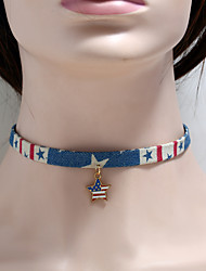 cheap -Cosplay Cosplay Costume Necklace Masquerade Adults' Women's Cosplay American Flag Christmas Halloween Carnival Festival / Holiday Fabric Blue Carnival Costumes American / USA