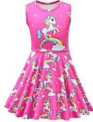 cheap -Kids Toddler Girls' Active Street chic Unicorn Cartoon Sleeveless Above Knee Dress Fuchsia