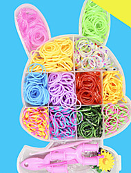 cheap -DIY Rubber Bands Bracelets Rainbow Color Loom for Kids with 600pcs Bands and 24 S-clips