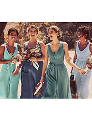 cheap -A-Line V Neck Ankle Length Chiffon Bridesmaid Dress with Bow(s) / Ruching