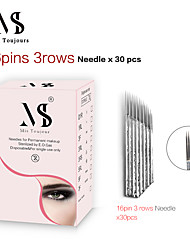 cheap -30pcs Fast Coloring Manual Microblading Needles 3 Rows 16Pin Bevel Tebori Tattoo Blades For Permanent Makeup Eyebrows Lips
