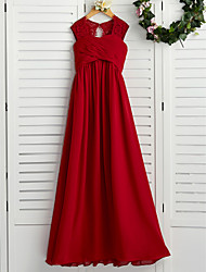 cheap -A-Line Floor Length Junior Bridesmaid Dress Wedding Chiffon Sleeveless Square Neck with Lace