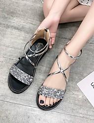 cheap -Women's PU(Polyurethane) Summer Casual Sandals Flat Heel Open Toe Gold / Black / Silver