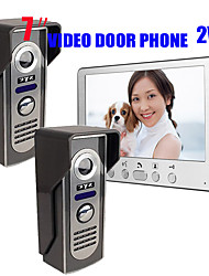 cheap -815M21 Ultra-thin 7-inch wired video doorbell HD villa one indoor unit two outdoor unit video intercom outdoor unit night vision rain unlock function