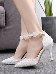 cheap -Women's Wedding Shoes Fall & Winter Stiletto Heel Pointed Toe Sweet Minimalism Wedding Party & Evening Imitation Pearl / Satin Flower / Buckle Solid Colored PU White