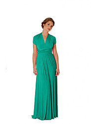 cheap -A-Line V Neck Floor Length Chiffon Bridesmaid Dress with Sash / Ribbon