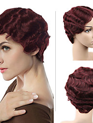 cheap -Human Hair Wig Short Wavy Bob Party Women Sexy Lady Machine Made Brazilian Hair Women's Black#1B Dark Burgundy Dark Brown 6 inch