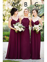 cheap -A-Line Halter Neck / Spaghetti Strap Sweep / Brush Train Chiffon Bridesmaid Dress with Ruching