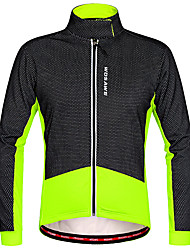 cheap -WOSAWE Men's Cycling Jacket Bike Winter Fleece Jacket Top Thermal / Warm Waterproof Zipper Sports Polyester Fleece Winter Red black / Black / Green Mountain Bike MTB Road Bike Cycling Clothing Apparel