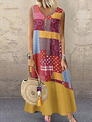 cheap -Women's Tunic Dress - Geometric Red Yellow Wine XXXL XXXXL XXXXXL