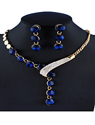 cheap -Women's Purple Black Blue Bridal Jewelry Sets Link / Chain Ball Luxury Elegant Colorful Rhinestone Earrings Jewelry Purple / Red / Blue For Christmas Wedding Party Engagement Gift 1 set