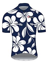 Недорогие -21Grams Цветочные ботанический Муж. С короткими рукавами Велокофты - Синий / белый Велоспорт Джерси Верхняя часть Дышащий Влагоотводящие Быстровысыхающий Виды спорта 100% полиэстер / Слабоэластичная