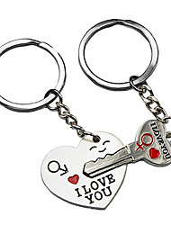 cheap -World Pride Key to My Heart Cute Couple Keychain Love Keychain Key Ring