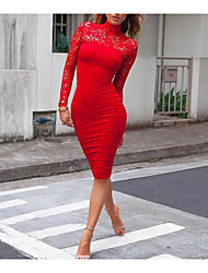 cheap -Women's Lace Daily Holiday Going out Bodycon Dress - Solid Colored Red Turtleneck Fall White Black Red M L XL / Club / Sexy / Skinny