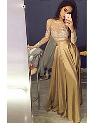 cheap -Women's Street chic Maxi A Line Dress - Floral Lace Patchwork V Neck Lace Gold S M L XL Belt Not Included