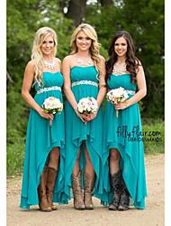 cheap -A-Line Sweetheart Neckline Asymmetrical Chiffon Bridesmaid Dress with Appliques / High Low