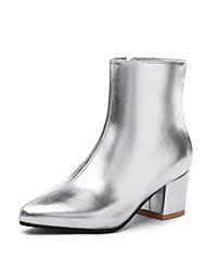 cheap -Women's PU(Polyurethane) Fall & Winter British / Minimalism Boots Block Heel Round Toe Mid-Calf Boots Gold / Black / Silver