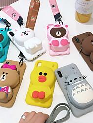 Недорогие -Кейс для Назначение Apple iPhone XS / iPhone XR / iPhone XS Max Кошелек Кейс на заднюю панель Мультипликация Твердый силикагель
