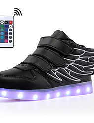 cheap -Boys / Girls USB Charging  LED / LED Shoes Faux Leather Sneakers Walking Shoes LED Black / White / Green Summer / Fall / Color Block / Rubber