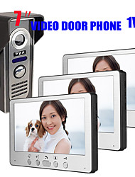 Недорогие -сверхтонкий 7-дюймовый проводной видео дверной звонок домофон hd вилла один-три визуальный домофон наружный блок ночного видения watefproof функция разблокировки 700tvl 1/4 дюйма цветной cmos