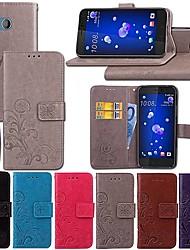 Недорогие -Кейс для Назначение HTC HTC U11 / HTC U Ultra / HTC Desire 12+ Кошелек / со стендом / Флип Чехол Однотонный / Бабочка / Цветы Твердый Кожа PU